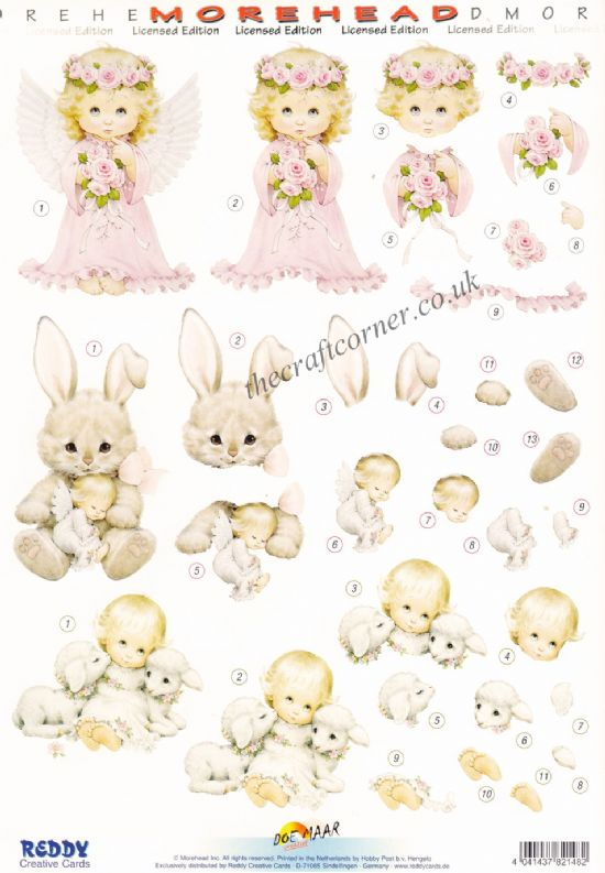 Morehead Children With Lamb, A Bunny & Dressed As An Angel 3D Die Cut Decoupage Sheet